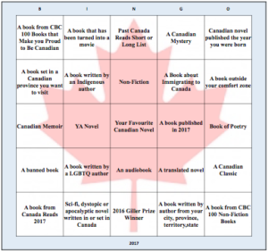 2017 Canadian literature bingo